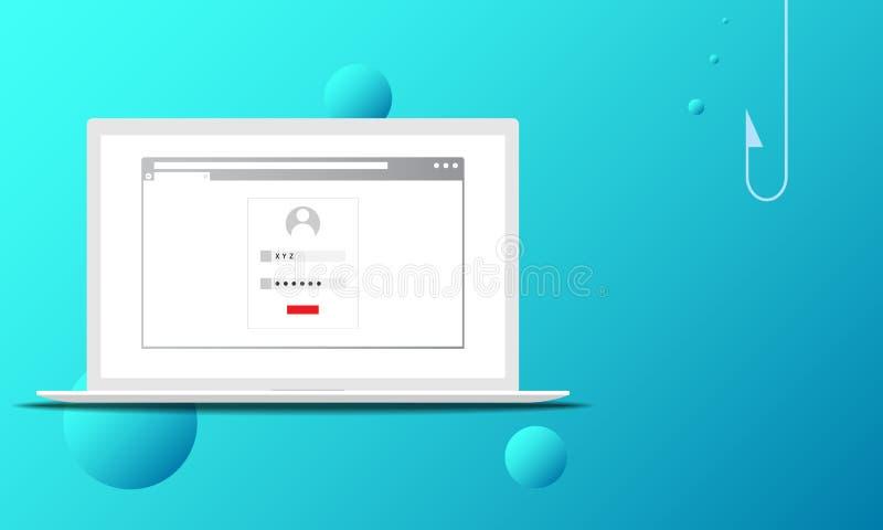 Illustrazione di vettore di un concetto phishing di attacco con il gancio di pesca nel backgroud royalty illustrazione gratis
