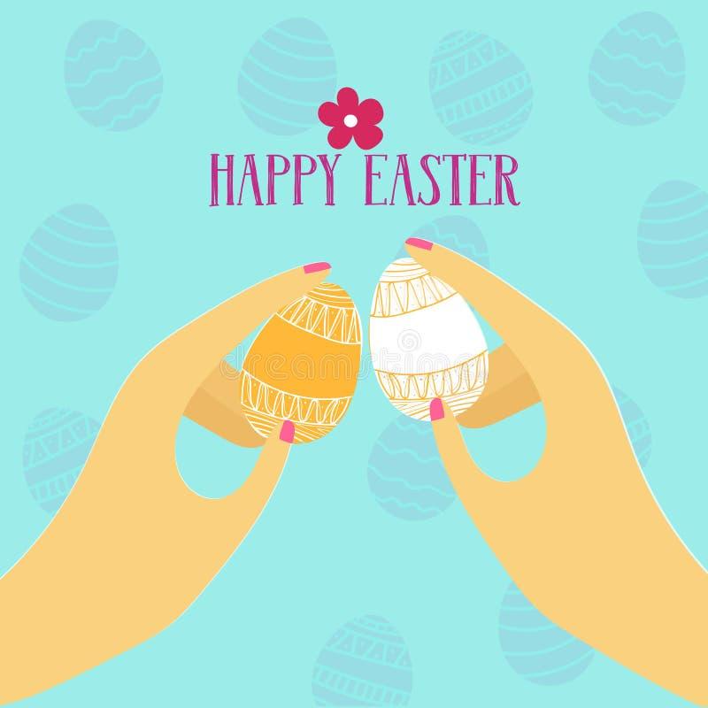 Illustrazione di vettore di un gioco tradizionale per Pasqua - spillatura dell'uovo royalty illustrazione gratis