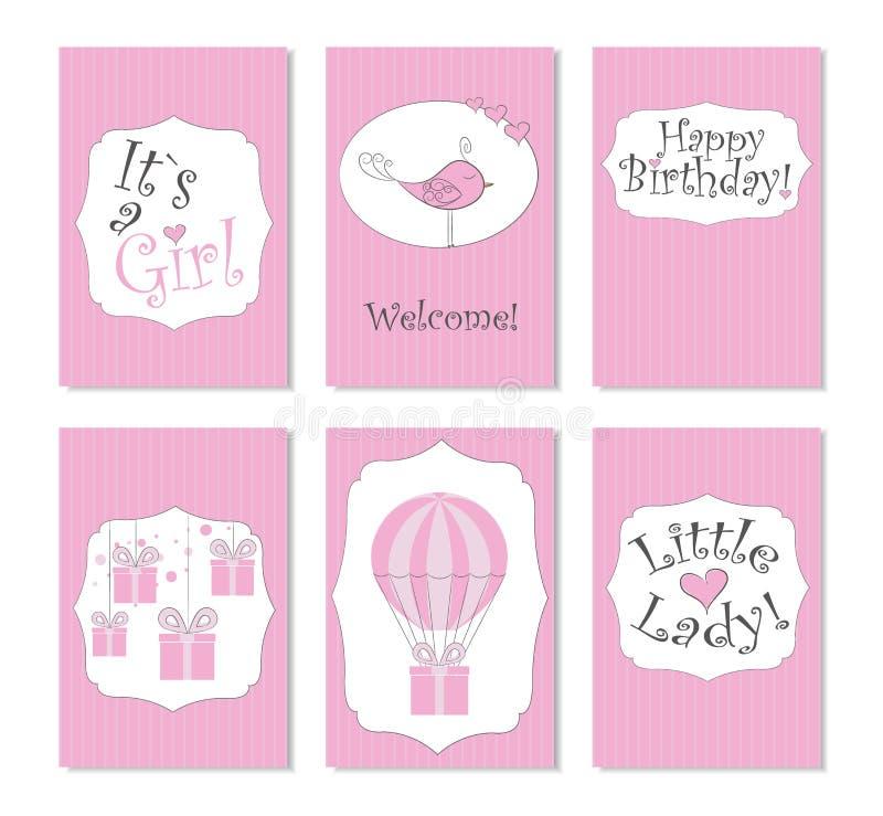 Illustrazione di vettore Un insieme di 6 carte stampabili Perfezioni ai biglietti di auguri per il compleanno neonati, le cartoli illustrazione vettoriale