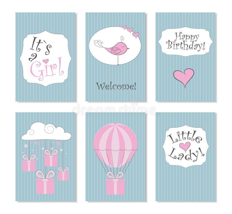 Illustrazione di vettore Un insieme di 6 carte stampabili Perfezioni ai biglietti di auguri per il compleanno neonati, le cartoli fotografia stock
