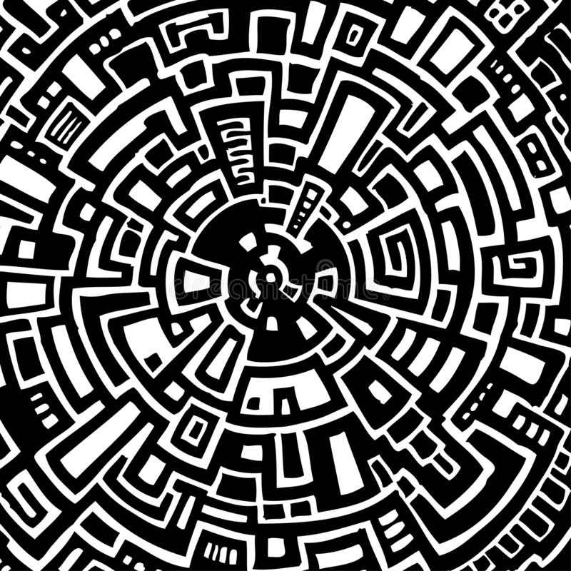 Illustrazione di vettore di un labirinto circolare astratto fotografie stock