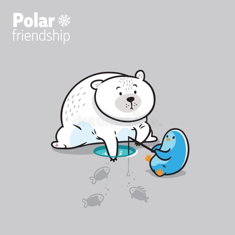 Illustrazione di vettore di un orso polare di kawaii e di piccolo pinguino sveglio che pescano sul ghiaccio illustrazione di stock