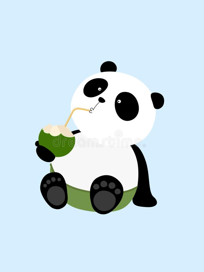 Illustrazione di vettore: Un panda gigante del fumetto sveglio sta bevendo il latte di cocco nelle vacanze estive, sedentesi sull illustrazione di stock