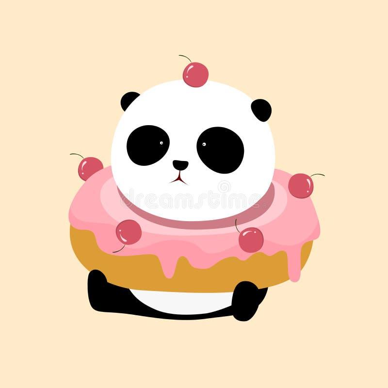 Illustrazione di vettore: Un panda gigante del fumetto sveglio sta sedendosi sulla terra, con una grande ciambella rosa di sapore illustrazione di stock