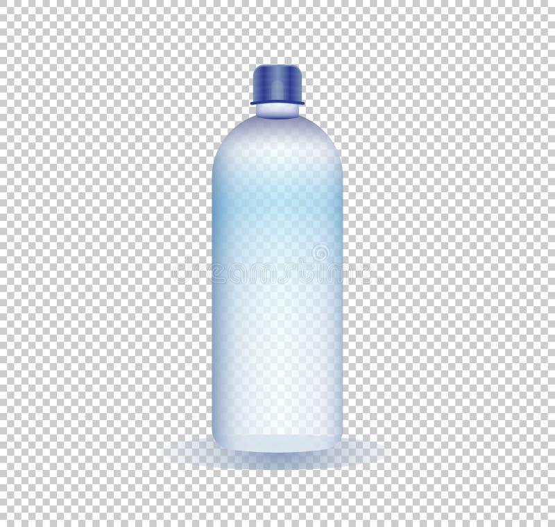 Illustrazione di vettore di una bottiglia di acqua pura su un fondo trasparente illustrazione vettoriale