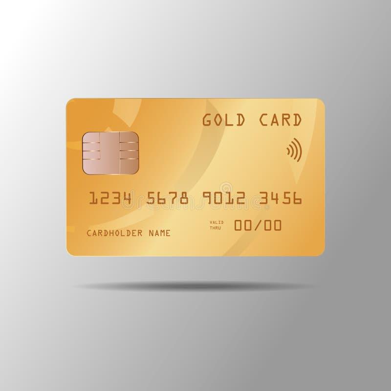 Illustrazione di vettore di una carta di credito realistica dell'oro isolata su fondo grigio royalty illustrazione gratis
