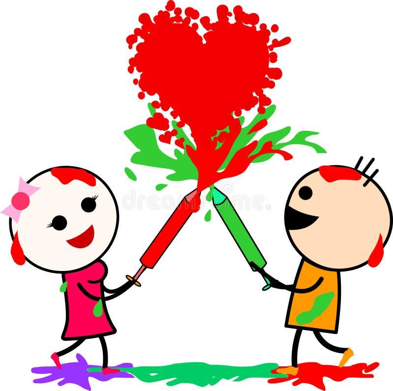 Illustrazione di vettore di una coppia sveglia di amore del fumetto che gode del festival indiano Holi royalty illustrazione gratis
