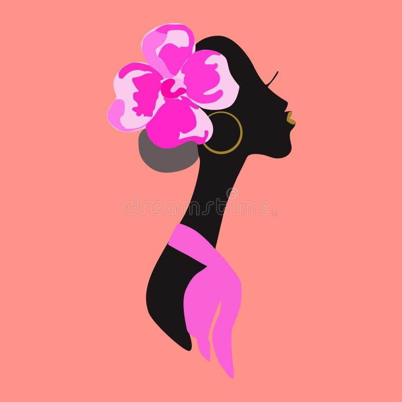 Illustrazione di vettore di una donna africana in cappello e sciarpa luminosi illustrazione di stock