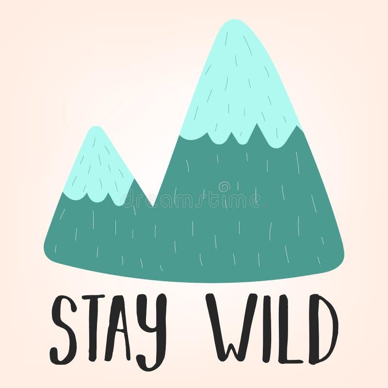 Illustrazione di vettore di una montagna disegnata a mano in tonalità blu con il soggiorno dell'iscrizione selvaggio Immagine sul royalty illustrazione gratis