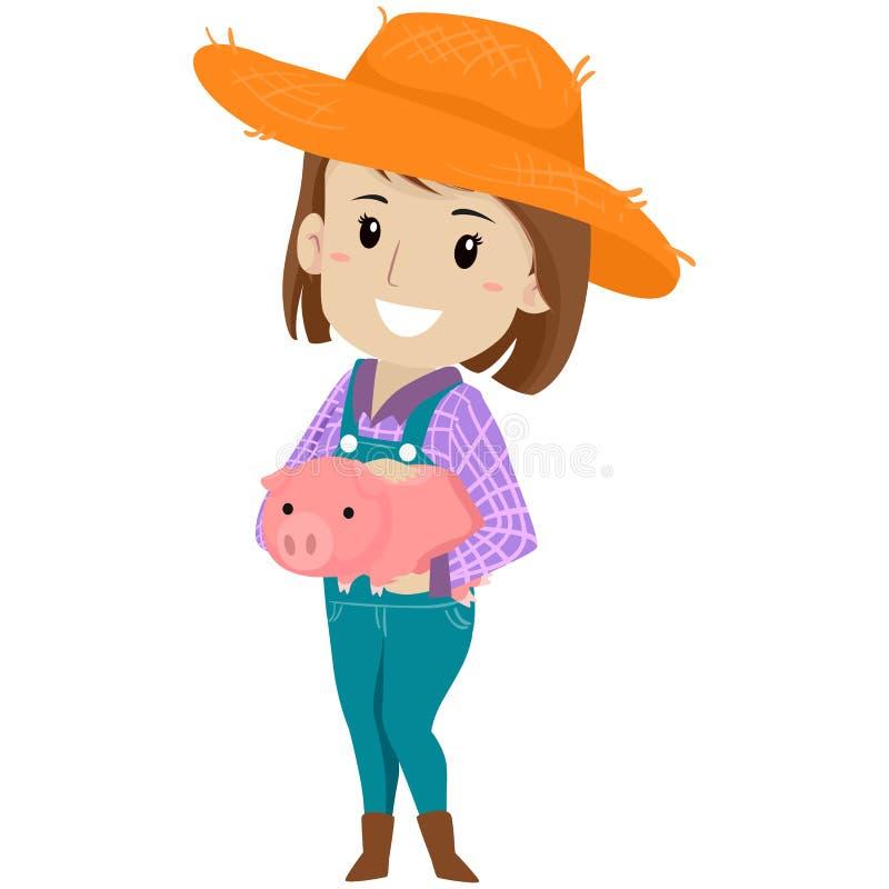 Illustrazione di vettore di una ragazza dell'azienda agricola che tiene un maiale royalty illustrazione gratis
