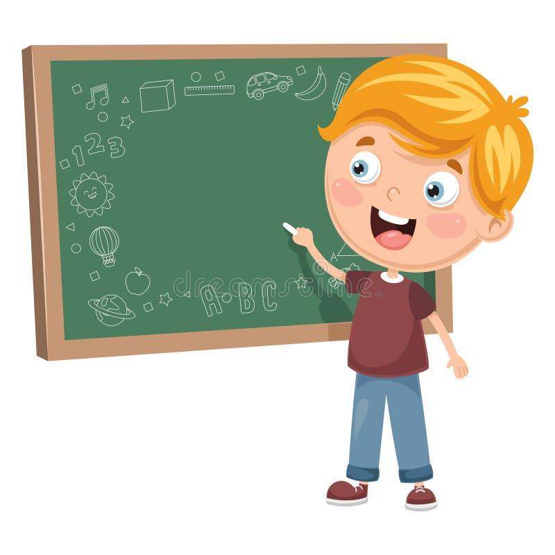 Illustrazione di vettore di una scrittura del bambino a bordo illustrazione di stock
