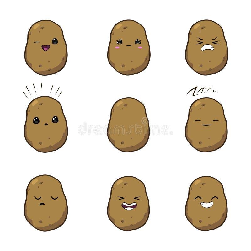 Illustrazione di vettore di una serie di caratteri di verdure di vettore del fumetto sveglio delle patate isolata su bianco emozi royalty illustrazione gratis
