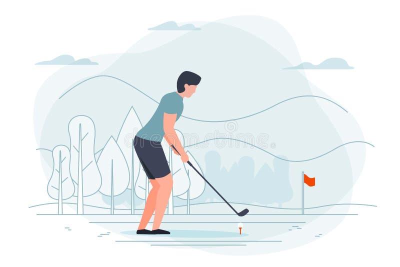 Illustrazione di vettore - uomo che gioca golf royalty illustrazione gratis