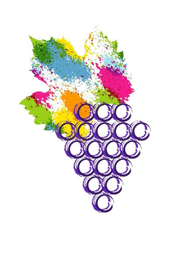 Illustrazione di vettore variopinta ed icona della vite Acquerello astratto di stile della spruzzata con le bacche dell'uva Conce illustrazione vettoriale