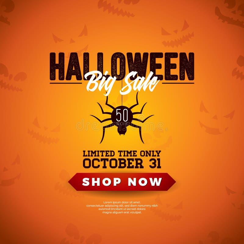 Illustrazione di vettore di vendita di Halloween con il ragno ed iscrizione sul fondo spaventoso arancio del fronte Progettazione royalty illustrazione gratis