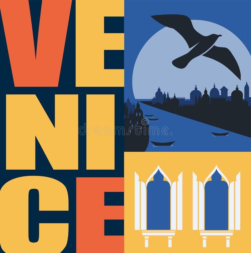 Illustrazione di vettore di Venezia, Italia, cartolina Viaggio all'elemento piano moderno di progettazione grafica di Venezia illustrazione vettoriale