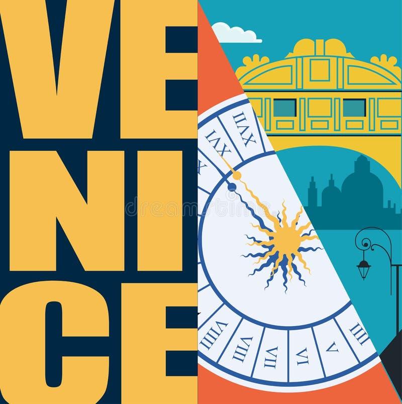 Illustrazione di vettore di Venezia, Italia, cartolina Viaggio a progettazione grafica piana moderna di Venezia illustrazione vettoriale