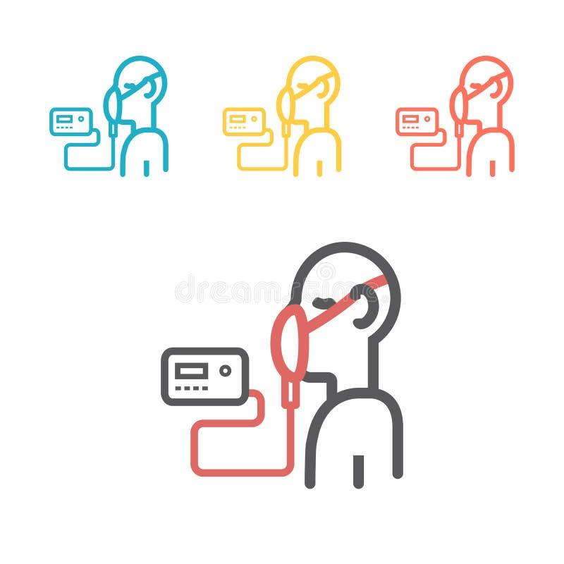 Illustrazione di vettore di ventilazione artificiale dalle vie respiratorie mediche Linea icona illustrazione vettoriale