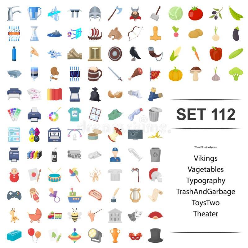 Illustrazione di vettore di vichingo, verdura, tipografia, insieme dell'icona del teatro del giocattolo dell'immondizia royalty illustrazione gratis