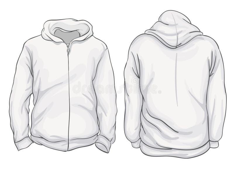Illustrazione di vettore Viste anteriori e posteriori del rivestimento in bianco di maglia con cappuccio I royalty illustrazione gratis