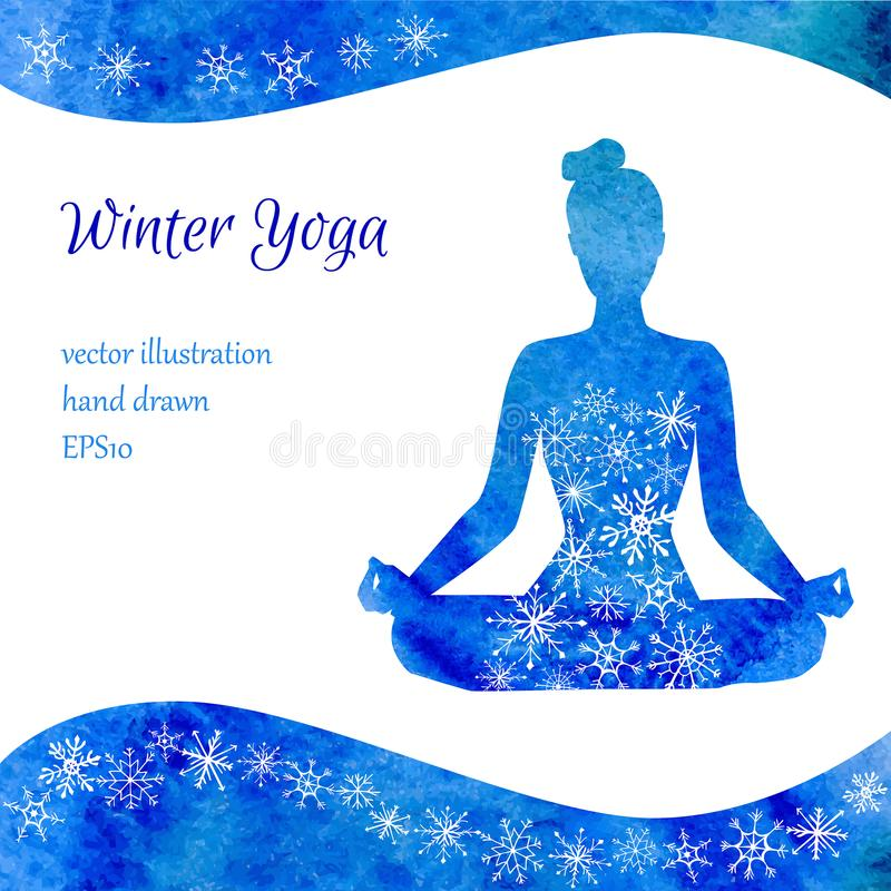 Illustrazione di vettore di yoga di inverno royalty illustrazione gratis