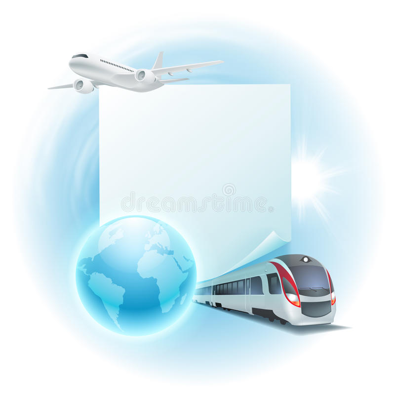 Illustrazione di viaggio con l'aeroplano, il treno e la nota royalty illustrazione gratis