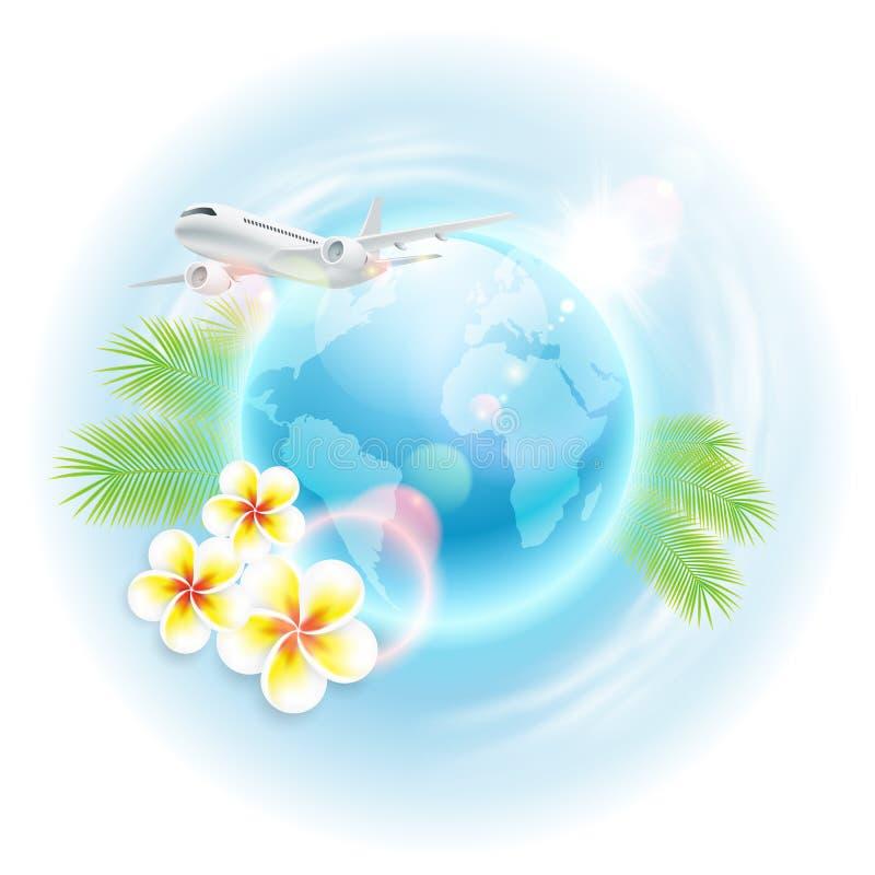 Illustrazione di viaggio di concetto con l'aeroplano, il globo, i fiori e le foglie di palma royalty illustrazione gratis