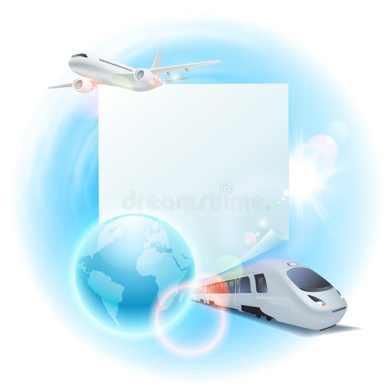 Illustrazione di viaggio di concetto con l'aeroplano, il treno, il globo e la nota per il vostro testo illustrazione vettoriale
