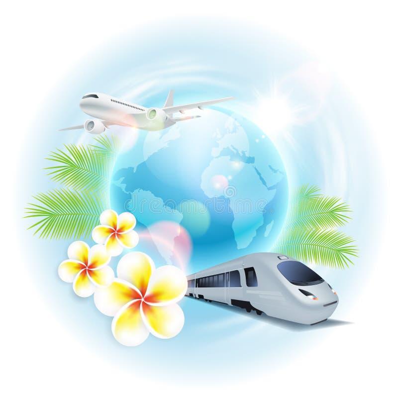Illustrazione di viaggio di concetto con l'aeroplano, il treno, il globo, i fiori e le foglie di palma royalty illustrazione gratis