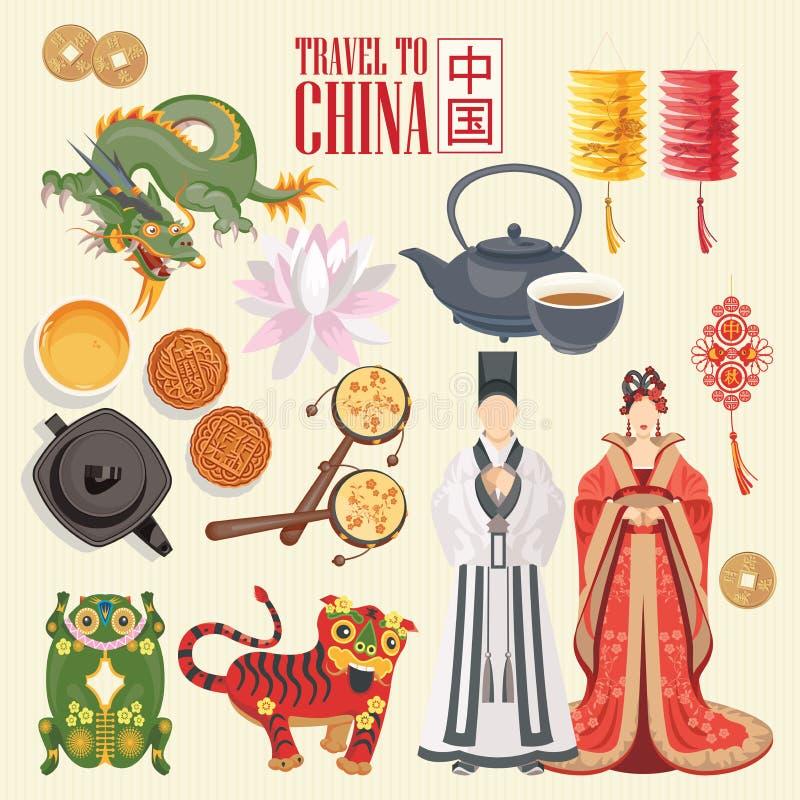 Illustrazione di viaggio della Cina con le icone cinesi Il cinese ha messo con l'architettura, alimento, costumi Tex cinese illustrazione di stock