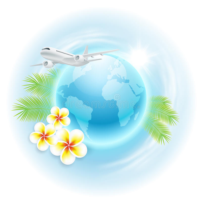 Illustrazione di viaggio di concetto con l'aeroplano, globo, illustrazione di stock