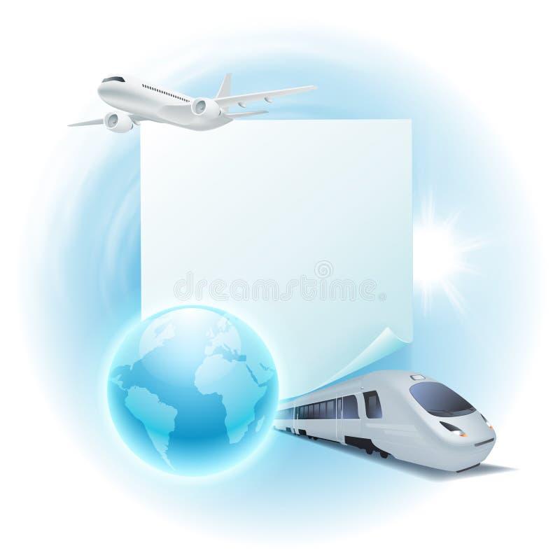 Illustrazione di viaggio di concetto con l'aeroplano, treno, illustrazione vettoriale