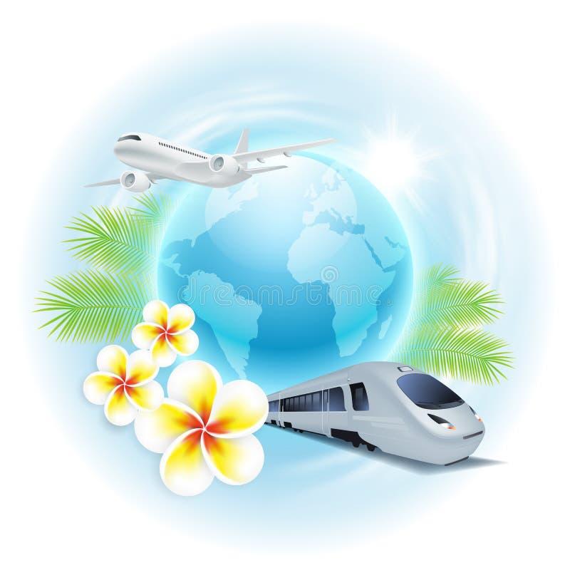 Illustrazione di viaggio di concetto con l'aeroplano, treno, illustrazione di stock