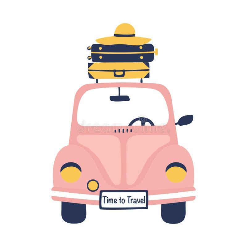Illustrazione di viaggio di estate con la retro automobile e valigie sveglie illustrazione di stock
