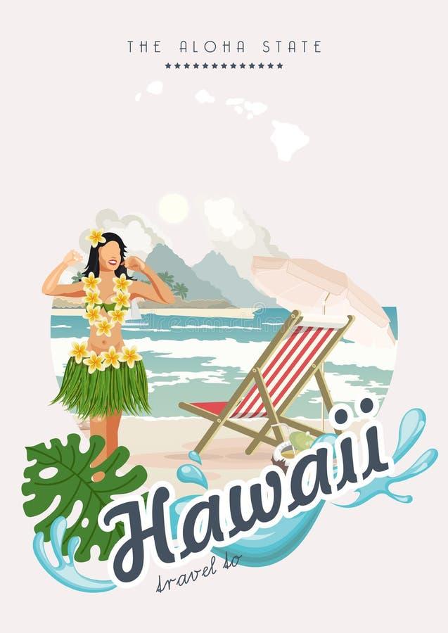 Illustrazione di viaggio di vettore delle Hawai Aloha stato Modello di estate stazione balneare Vacanze soleggiate