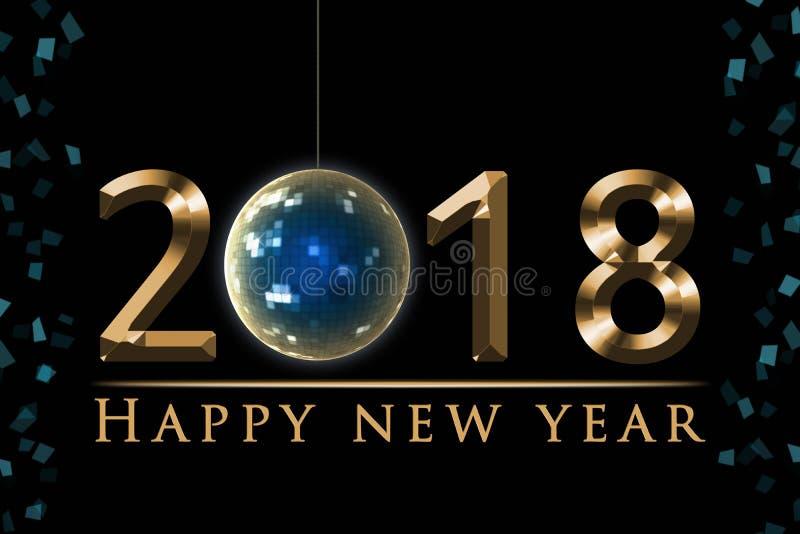 Illustrazione di vigilia del ` s da 2018 nuovi anni, carta con la palla della discoteca del partito, testo del buon anno dell'oro illustrazione di stock