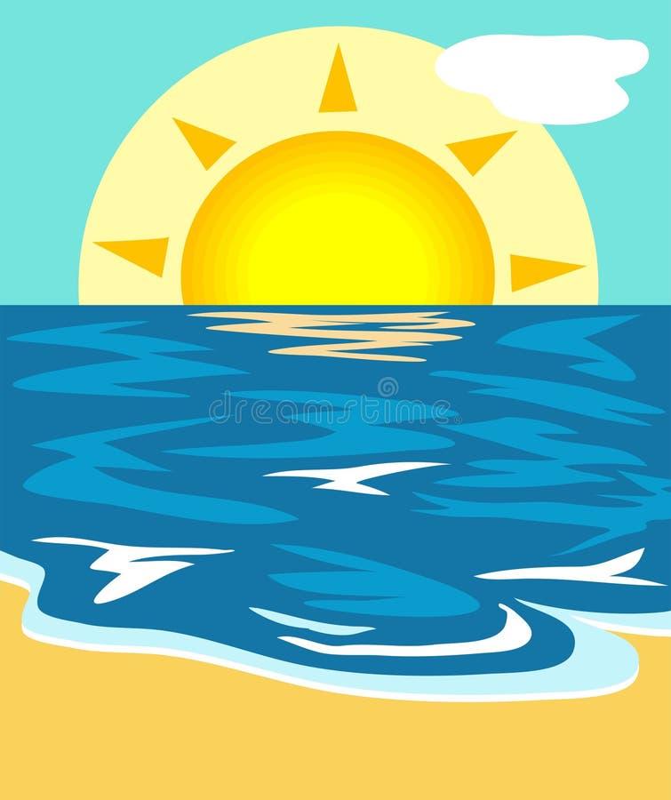 Illustrazione di vista sul mare illustrazione di stock