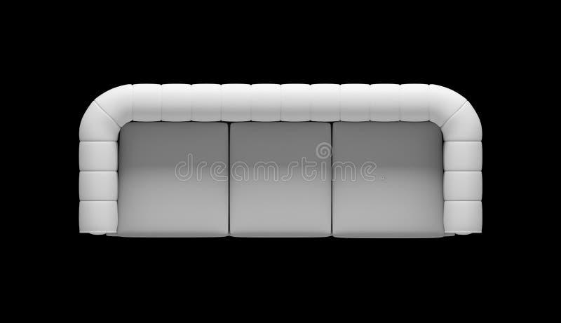 Illustrazione di vista superiore del sofà di tre sedili fotografia stock libera da diritti
