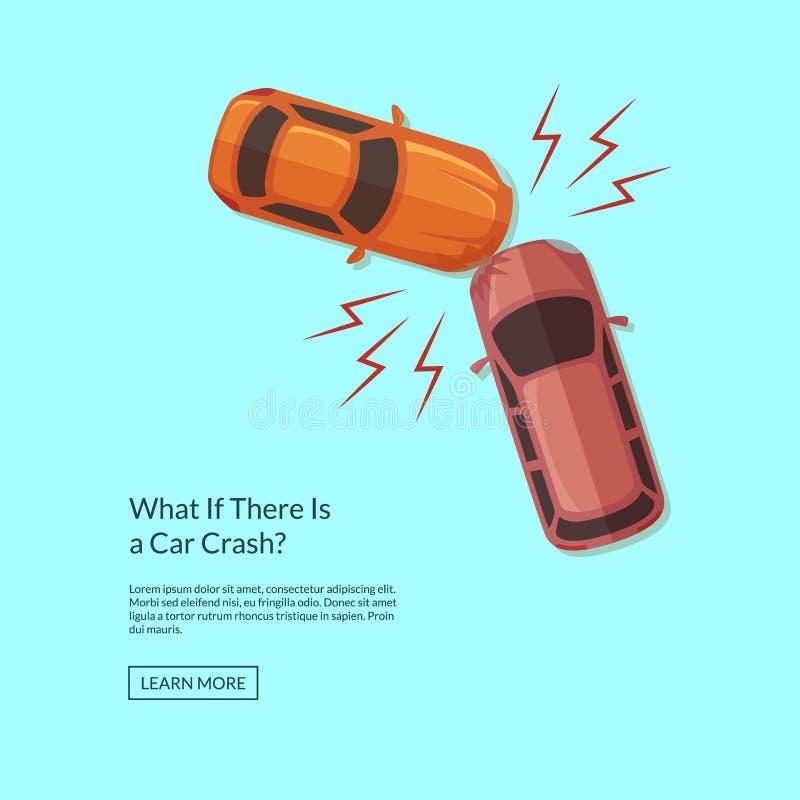 Illustrazione di vista superiore di incidente di automobili di vettore due royalty illustrazione gratis