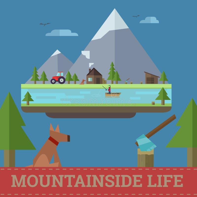 Illustrazione di vita del fianco di una montagna di vettore immagini stock libere da diritti