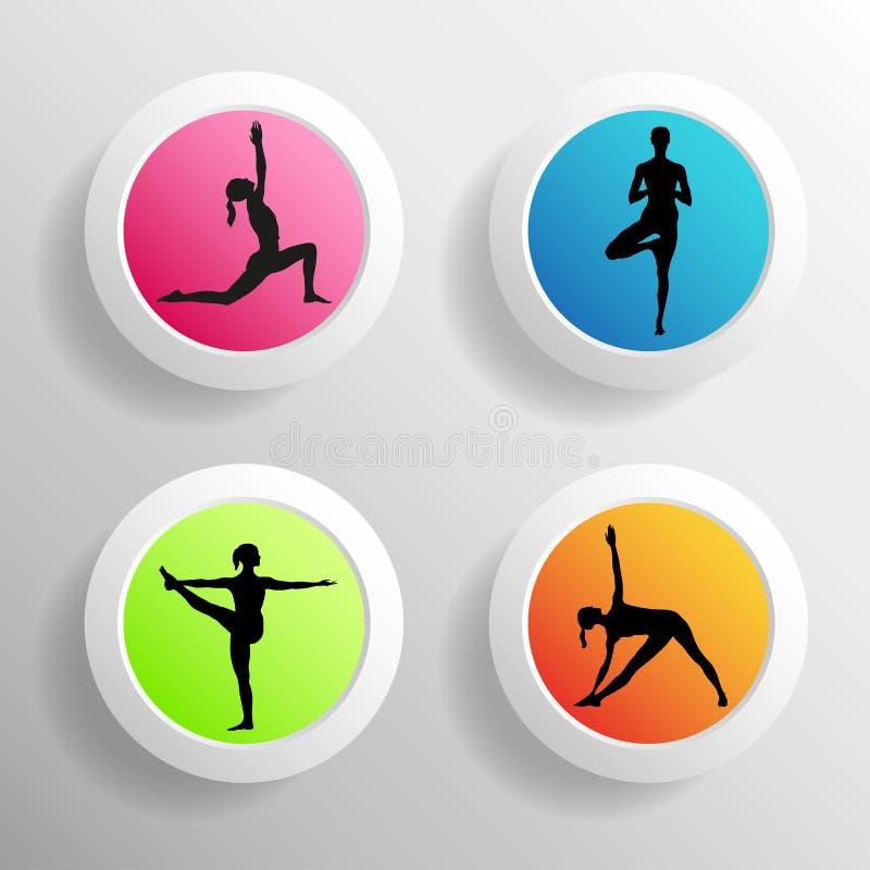 Illustrazione di yoga di vettore Bottoni del cerchio con la siluetta delle ragazze ENV, JPG illustrazione di stock