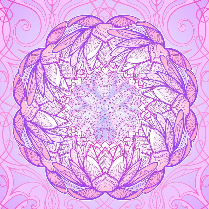 Illustrazione di zen del fiore di loto Disegno lineare stilizzato complesso isolato sul modello royalty illustrazione gratis