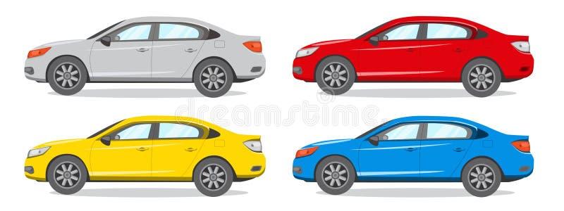 Illustrazione differente di vettore di colore della berlina Icona dell'automobile royalty illustrazione gratis