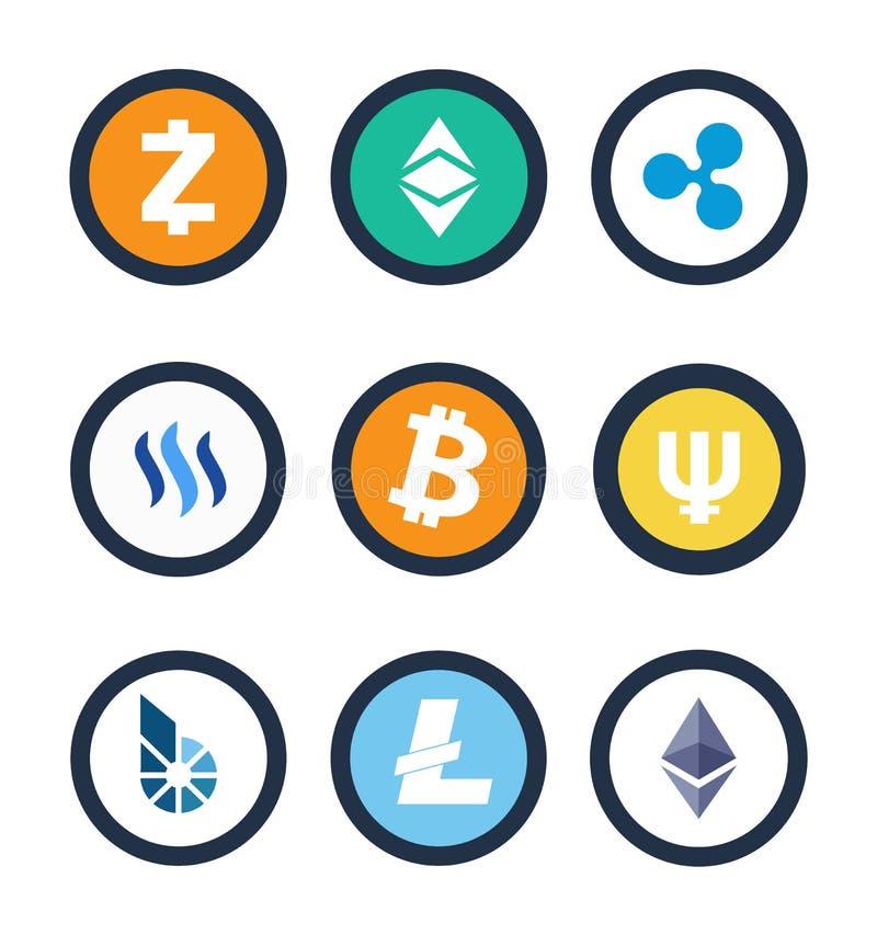 Illustrazione differente di vettore delle monete di Cryptocurrency royalty illustrazione gratis
