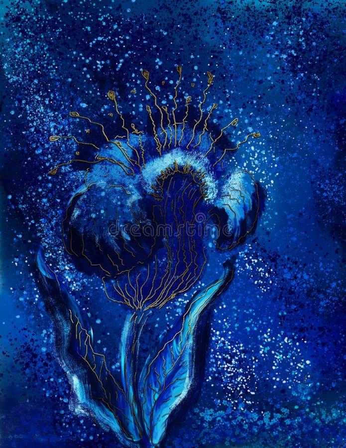 Illustrazione Digital che dipinge fiore blu fotografia stock libera da diritti