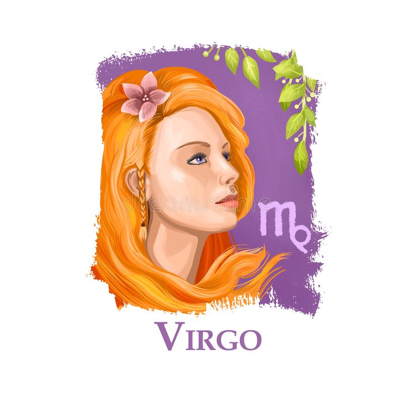 Illustrazione digitale creativa del Vergine astrologico del segno Un sesto di dodici firma dentro lo zodiaco Elemento della terra fotografie stock