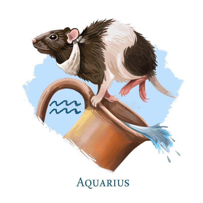 Illustrazione digitale creativa di acquario del segno astrologico Uno symboll del topo del SOR del ratto di 2020 anni firma dentr royalty illustrazione gratis