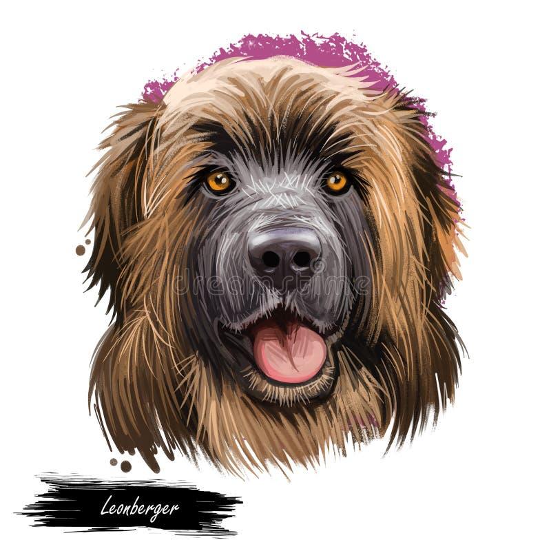 Illustrazione digitale di arte della montagna di Leonberger del cane della razza del ritratto gigante del primo piano Purosangue  royalty illustrazione gratis