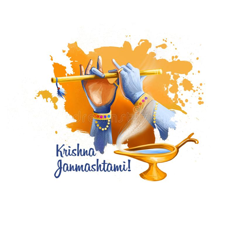 Illustrazione digitale di arte di Krishna Janmashtami Festival indù annuale in India Nascita della cartolina d'auguri di festa di illustrazione di stock