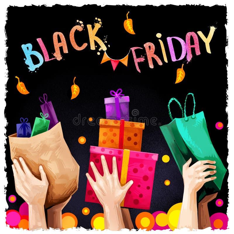 Illustrazione digitale di arte di vendita nera di venerdì 25 novembre tradizione di compera annuale Insegna commerciale di giorno royalty illustrazione gratis